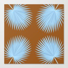 PALM LEAF BROWN AND BLUE Canvas Print