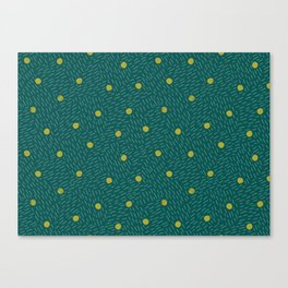 Polka dots and dashes // teal and olive Canvas Print