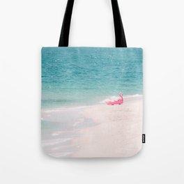 Pink Flamingo Beach Tote Bag