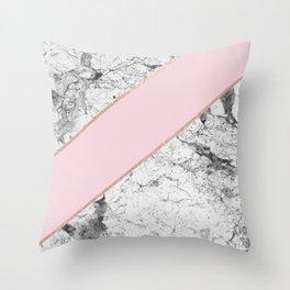 Celestial rose - dramatic white marble Throw Pillow