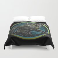 pacific rim Duvet Covers featuring Knifehead - Pacific Rim by Leamartes