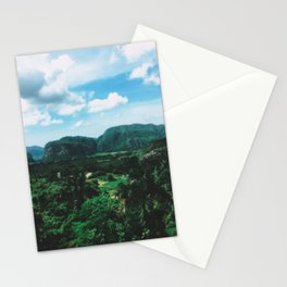 Lush green mountain in valley photo Stationery Cards