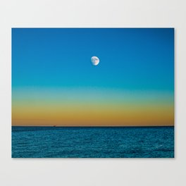 Moon Rising Over Chicago's North Shore Canvas Print