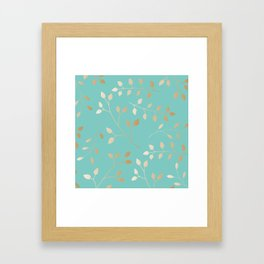 Turquoise with leafs Framed Art Print