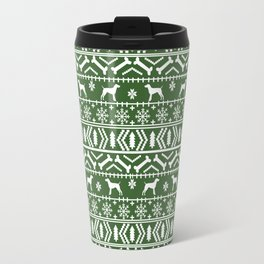 German Shorthair Pointer fair isle christmas holidays dog breed pattern green and white Travel Mug