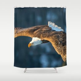 Marvelous Gracious American Bald Head Eagle Majestic Flying Gliding Through Air Close Up Ultra HD Shower Curtain