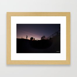 Sunset Pool Deck Framed Art Print