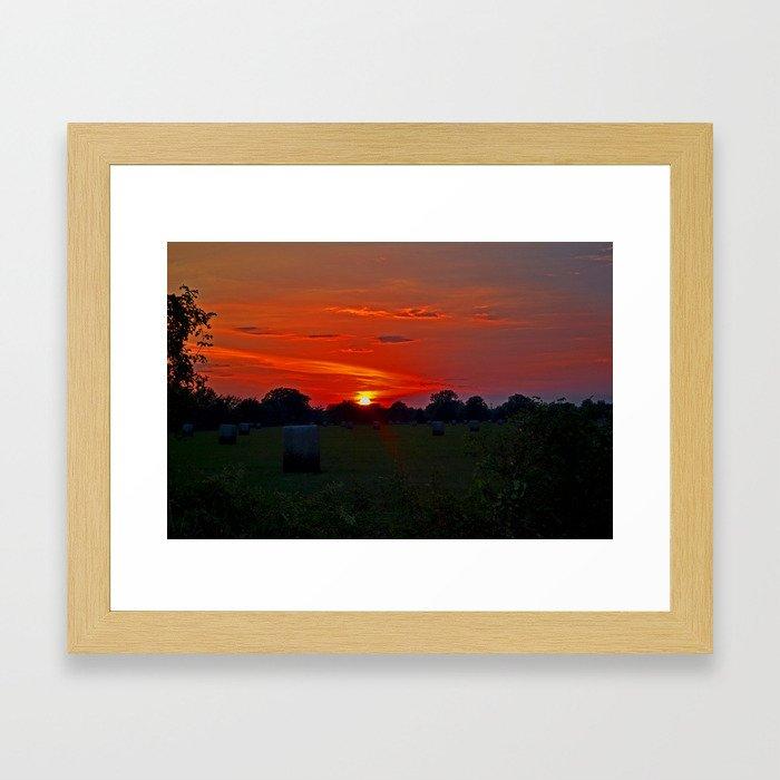 Haystacks in Texas' Red Sunset Framed Art Print