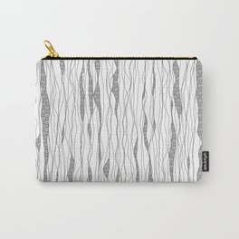 Black and white wavy art lines with nautical elements Carry-All Pouch
