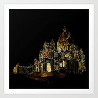 Paris Basilica Sacre Coeur at Night Art Print
