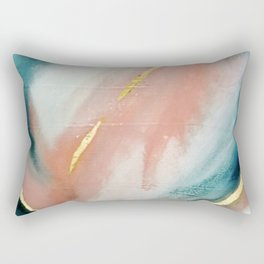 Celestial [3]: a minimal abstract mixed-media piece in Pink, Blue, and gold by Alyssa Hamilton Art Rectangular Pillow