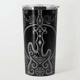 Intricate Gray and Black Bass Guitar Design Travel Mug