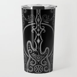 Intricate Gray and Black Bass Guitar Design Travel Mug