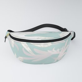 Trio palm leaves. White, Blue, 3 autumn tropical, fall ,pattern, society6 Fanny Pack