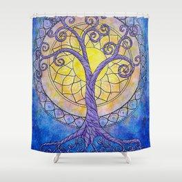 Illuminate Series tree of life mandala Shower Curtain