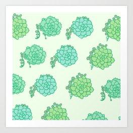 Cute Succulent Pattern Art Print