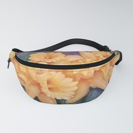 YELLOW DAFFODIL FLOWERS in WATERCOLORS Fanny Pack
