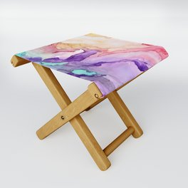 Color My World Watercolor Abstract Painting Folding Stool