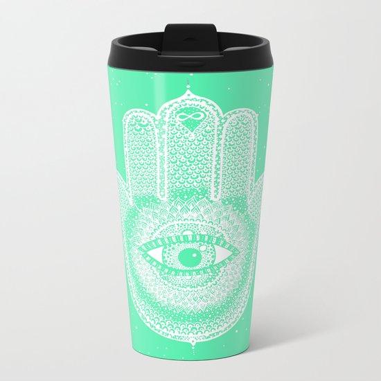 Hamsa lucky green Metal Travel Mug