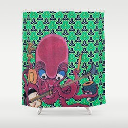 Kuniyoshi Musical Octopus with Bishamon Kikko Background Shower Curtain