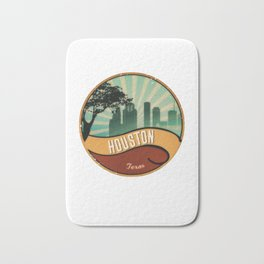 Houston City Skyline Texas Retro Design Vintage 80s Bath Mat