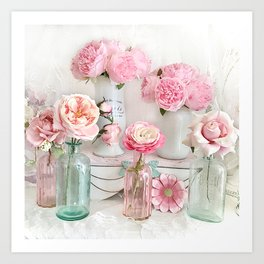Shabby Chic Pastel Peonies Roses Bottle Jar Prints Floral Home Decor Art Print