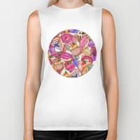 macaroons Biker Tanks featuring Sugar, Spice & All Things Nice by Perrin Le Feuvre
