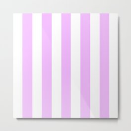 Electric lavender pink - solid color - white vertical lines pattern Metal Print