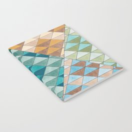 Triangle Patter No.15 Shifting Teal and Yellow Notebook