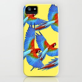 FLOCK OF BLUE MACAWS ON YELLOW iPhone Case