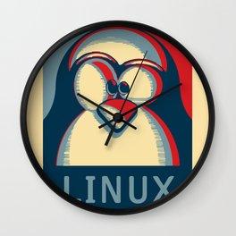 Linux tux penguin obama poster logo Wall Clock