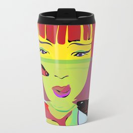 """Redhead Worry"" Paulette Lust's Original, Contemporary, Whimsical, Colorful Art Travel Mug"