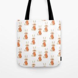 Cute funny hand drawn orange brown vector rabbit pattern Tote Bag