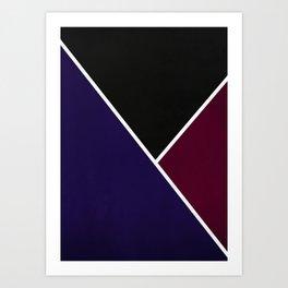 Noir Series - Deep Navy & Red Art Print