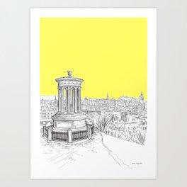 Overlooking Edinburgh (Illuminating Yellow Version) Art Print