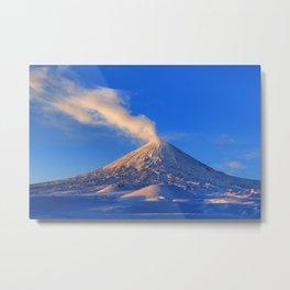 Active Klyuchevskoy Volcano at sunrise. Kamchatka Peninsula Metal Print