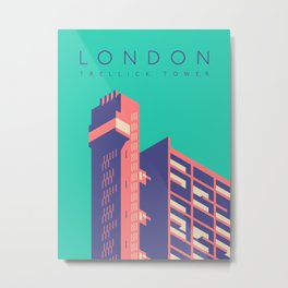 Trellick Tower London Brutalist Architecture - Text Green Metal Print