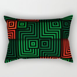 Red and green tiles with op art squares and corners Rectangular Pillow
