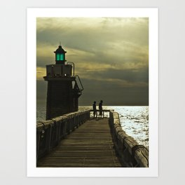 Boys at lighthouse Art Print