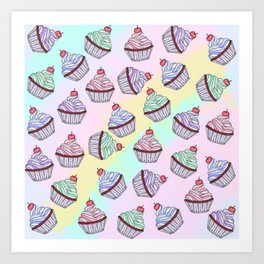Cute Colorful Rainbow Foodie Cherry Cupcakes Art Print