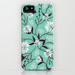 Mint Floral Shadow iPhone Case