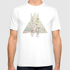 Live & Love Vintage White SMALL Mens Fitted Tee