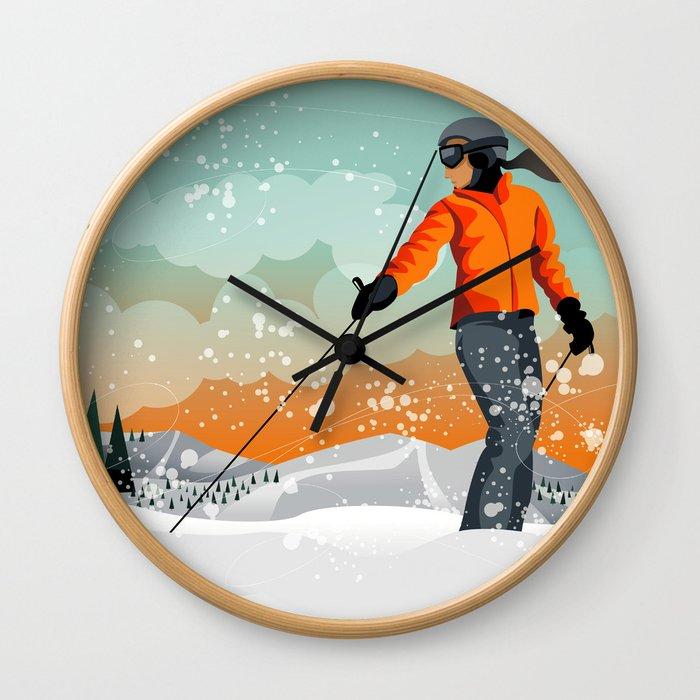 Skier Looking Wall Clock