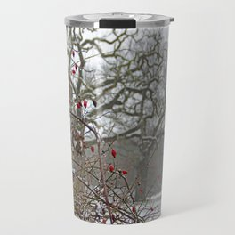 Winter berries and snow Travel Mug