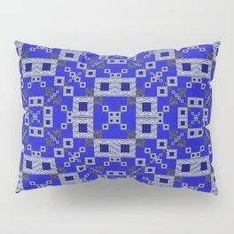 Vibrant Blue Indigo Grey Futuristic Quilt Print Pillow Sham