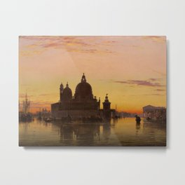 Venice Sunset at Santa Maria della Salute by Edwin William Cooke Metal Print