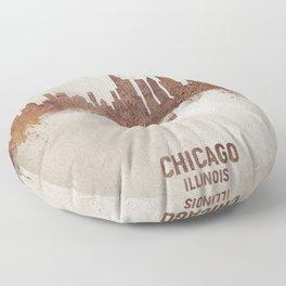 Chicago Illinois Rust Skyline Floor Pillow
