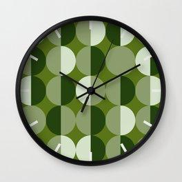 Retro circles grid green Wall Clock