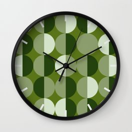 Retro circles grid green Wall Clock
