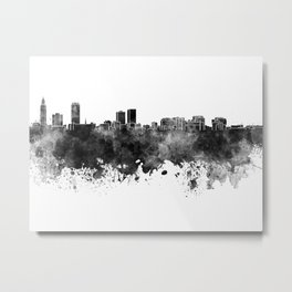 Baton Rouge skyline in black watercolor Metal Print